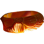 Hefty Vintage Carved Yellow Bakelite Bangle