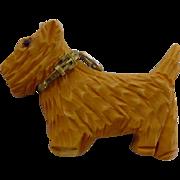 Assembled Vintage Bakelite w/ Collar Scotty Dog Charm / Pendant