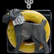 Vintage Assembled Bakelite and Sterling Silver Dog Necklace