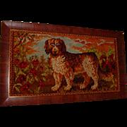 Framed Antique St. Bernard Dog Textile Poppy  Flowers