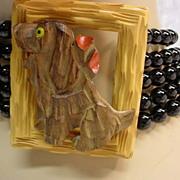 Assembled Vintage Bakelite Carved Wood Onyx Sterling Necklace