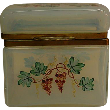 Antique French Hand Painted Ormolu Opaline Crystal Hinged Box