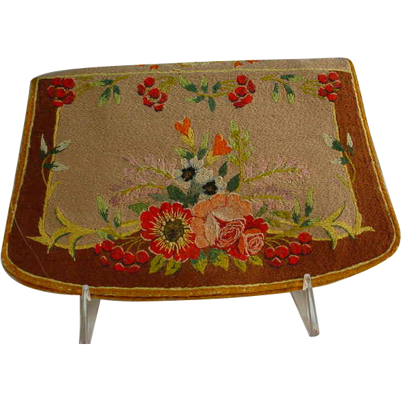Early 20Th Century Sarrazin Hand Embroidered French Clutch Purse