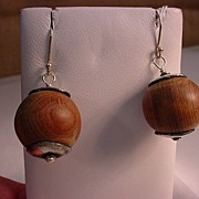 Sterling Wood Pierced Ball Earrings