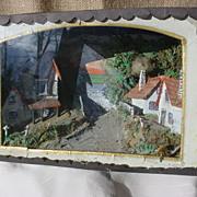 Antique Hand Made Victorian Village Scene Diorama Shadow Box Frame