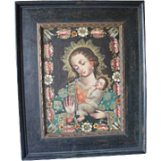 Antique Reproduction Sancto Religious Catholic Madonna amd Child in frame