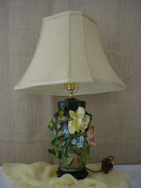 Majolica Italy Barbotine Applied Flower Table Lamp
