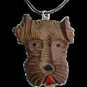 Vintage Sterling Carved Wood Terrier Dog Pin