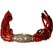 Tibet Repousse Sterling Silver Red Jasper Pebble Necklace