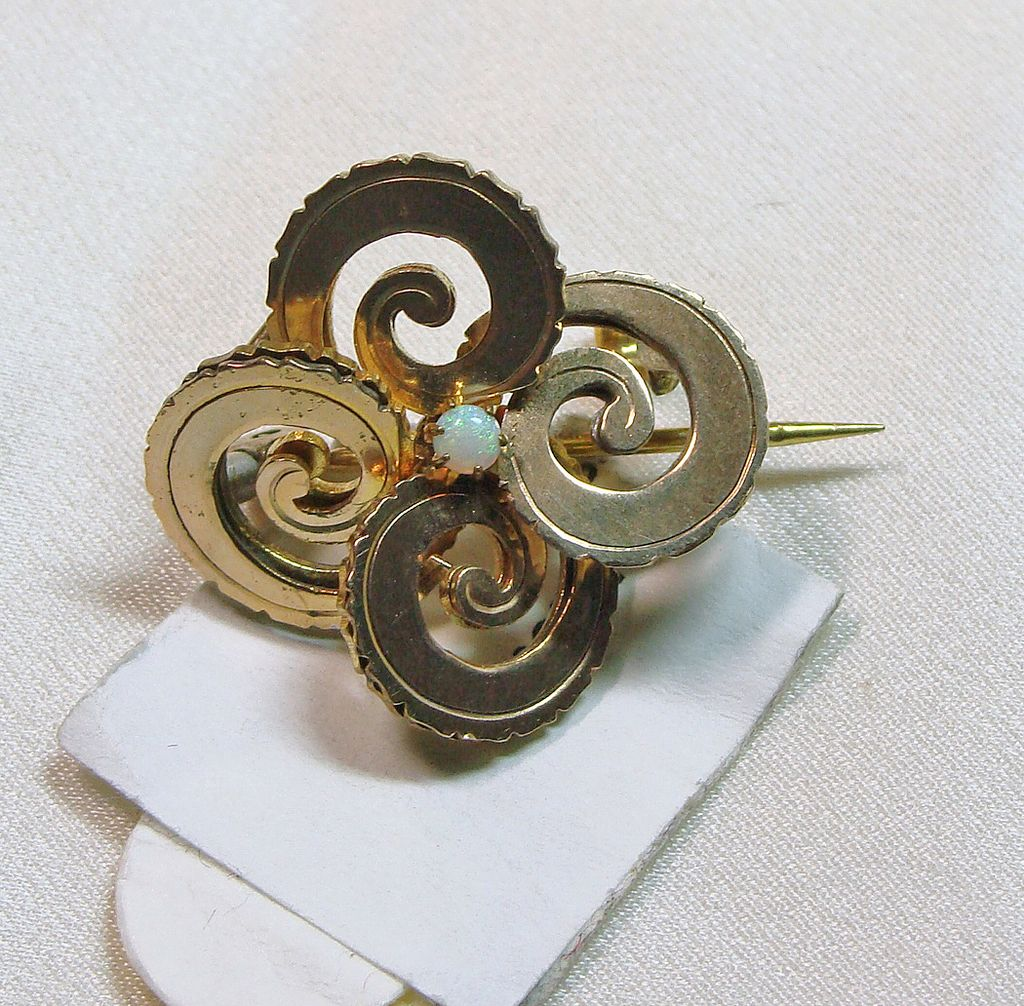 Victorian Love Knot Broach in Gold Brass with Opal
