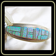 Sterling Silver Cuff Bracelet with Opal InLay