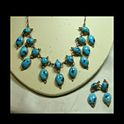 Sterling Silver and Turquoise Small Festoon Style Necklace and Earrings