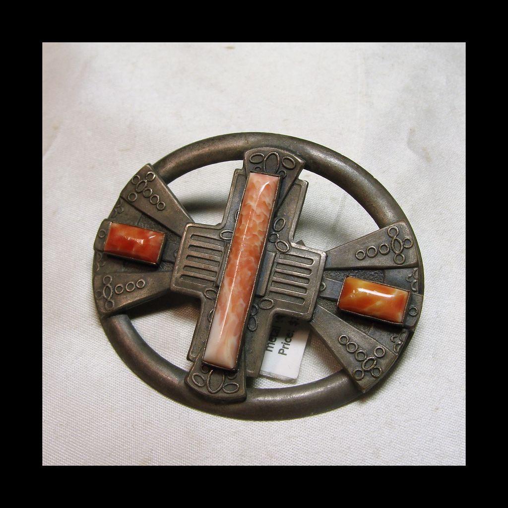 Arts and Crafts Oval Sash Pin