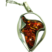 Sterling Silver Amber Pendant with Sterling Chain