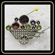 Sterling Silver Flower Cart Pin/Pendant with Amethyst, Peridot and Garnet