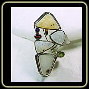 Sterling Silver Druzy Quartz Pin/ Pendant with Peridot, Amethyst and Garnet