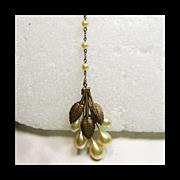 1920s-1930s Brass Faux Pearl Pendant Neck;lace