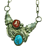 Sterling Silver Pendant Style Necklace with Turquoise and Coral