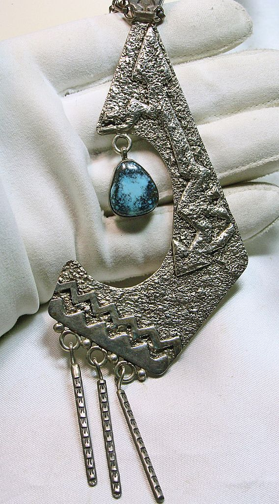 Native American Tufa Cast Necklace with Morenci Turquoise