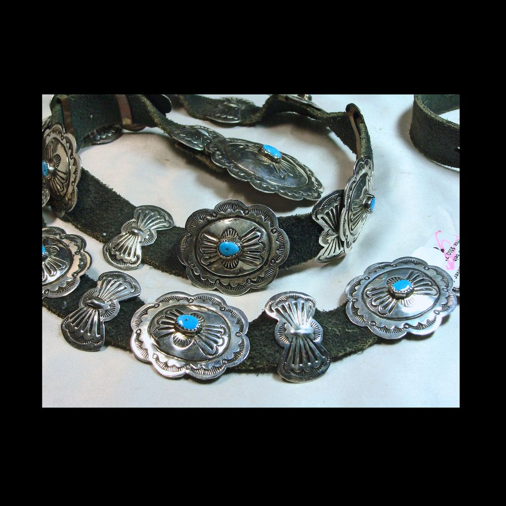 Southwestern Sterling Silver and Turquoise Concho Belt