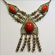 Coral and Vermeil Filigree Necklace