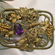 Art Nouveau Gold over Brass Sash Broach with a Butterfly Motif