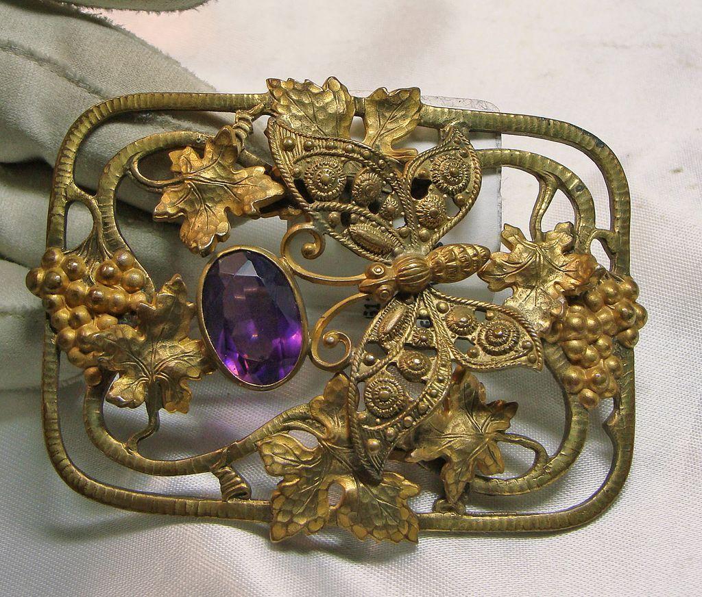 Art Nouveau Gold over Brass Sash Broach with a Butterfly Motif