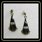 Sterling Silver Earrings with Black Jet and Opal Inlay