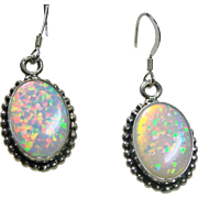 Sterling Silver Earrings with Lab Grown Opal