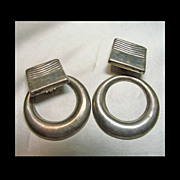 Over Sized Mexican Sterling Silver Hoop Earrings - Clip