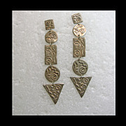 5 Part Sterling Silver Earrings with Abstract Designs in Sterling