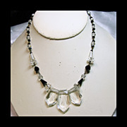 1930s Clear Crystal and Black Glass Bead Necklace
