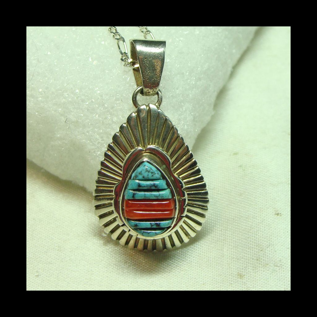 Sterling Silver Pear Shape Pendant with Corn Row Coral and Turquoise with Chain