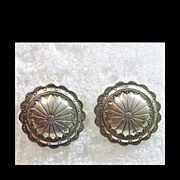Sterling Silver Concho Earrings for Pierced Ears