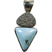 Druzy and Larimar Sterling Silver Pendant by Starborn