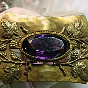 Victorian Sash Brooch in Gold Over Brass with Amethyst Color Oval Stone