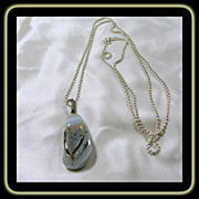 30 Inch Sterling Silver Bead Chain with Druzy Flip Flop Charm