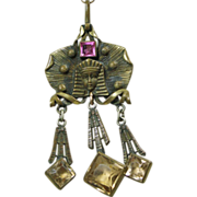 Egyptian Revival Brass Pendant on a Vintage Black Ribbon
