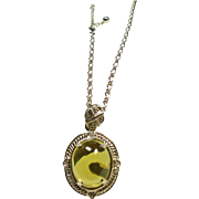 Sterling Silver Pendant with 21ct Cabochon Citrine with White Sapphire Accents with Chain