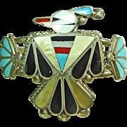 Zuni Thunderbird Inlay Sterling Silver Cuff Bracelet