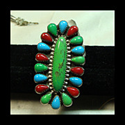Turquoise and Coral Elongated Sterling Silver Cluster Ring