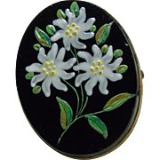 Vintage 1890s to 1920s Black Glass Broach/Pendant with Handpainted Flowers