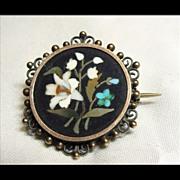 Victorian Pietra Dura Pin in Silver