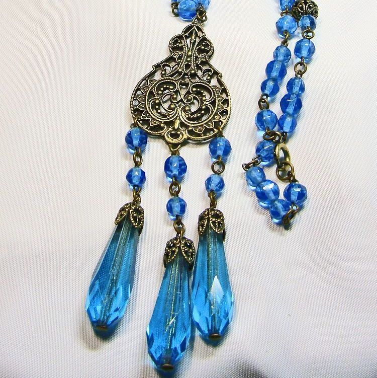 Czech Brass Filigree and Blue Glass Stones Necklace