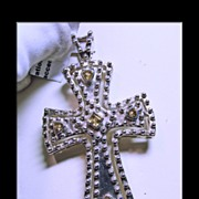 Citrine and Sterling Silver Cross