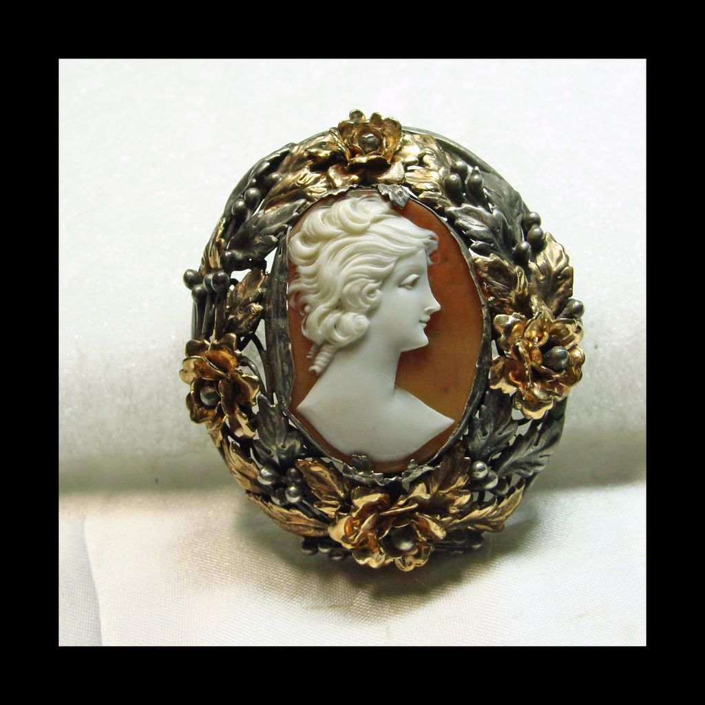 Unusual Shell Cameo in Sterling Silver with Gold Filled  Accent Flowers