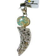 Boulder Turquoise and Sterling Silver Pendant by Shakey
