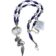 Cobalt and Natural Quartz Beads with White Rock Fairy Pendant