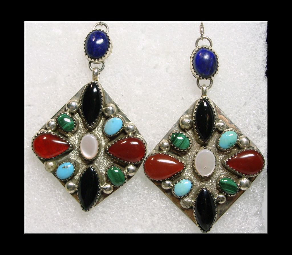 Southwestern Sterling Earrings Decorated with Natural Stones