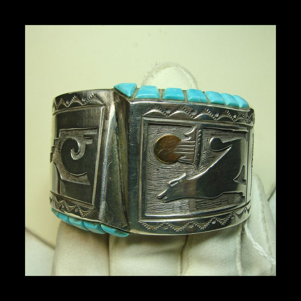 1970s Hollow Work Sterling Cuff Bracelet with Turquoise and Brass Accents